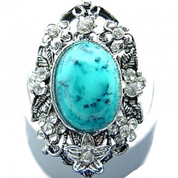 Large Bold Statement Costume Jewellery, Turquoise Oval Natural Stone Cabochon Clear Diamante Flower Fashion Cocktail Ring