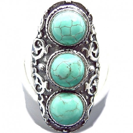Large Bold Statement Costume Jewellery, Turquoise Three Natural Stone Tibetan Ethnic Fashion Cocktail Ring