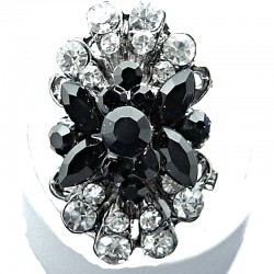 Black & Clear Diamante Long Cluster Flower Ring