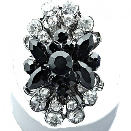 Large Bold Statement Costume Jewellery, Black & Clear Diamante Fashion Long Cluster Flower Ring