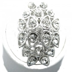 Large Bold Statement Costume Jewellery, Clear Diamante Cluster Teardrop Long Fashion Ring
