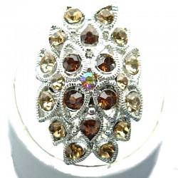 Brown Diamante Cluster Teardrop Long Ring