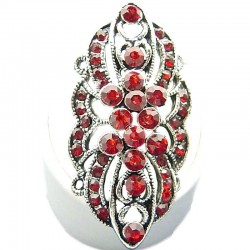 Large Bold Statement Costume Jewellery, Red Diamante Cluster Flower Fashion Long Finger Ring