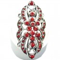 Red Diamante Cluster Flower Long Finger Ring