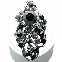 Large Bold Statement Costume Jewellery, Black Diamante Twist Wave Fashion Long Finger Ring
