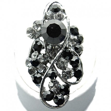 Large Bold Statement Costume Jewellery, Black Diamante Twist Wave Fashion Long Finger Ring