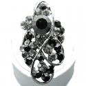 Black Diamante Twist Wave Long Finger Ring