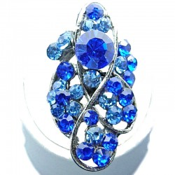 Large Bold Costume Jewellery, Royal Blue Diamante Twist Wave Fashion Long Finger Ring