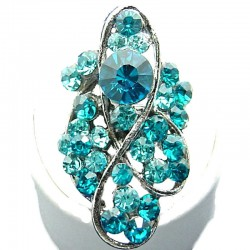 Large Bold Costume Jewellery, Aqua Blue Diamante Twist Wave Fashion Long Finger Ring