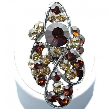 Large Bold Fashion Jewellery, Purple Diamante Twist Wave Long Finger Costume Ring