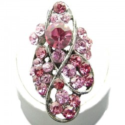 Large Bold Statement Costume Jewellery, Pink Diamante Twist Wave Fashion Long Finger Ring