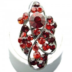 Large Bold Statement Costume Jewellery, Red Diamante Twist Wave Fashion Long Finger Ring
