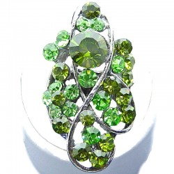 Large Bold Statement Costume Jewellery, Green Diamante Twist Wave Fashion Long Finger Ring