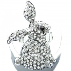 Fun Rabbit Costume Jewellery, Clear Diamante Fashion Rabbit Cute Animal Ring