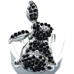 Fun Rabbit Costume Jewellery, Black Diamante Rabbit Cute Fashion Animal Ring