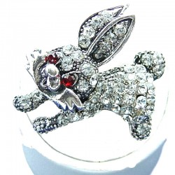Fun Rabbit Costume Jewellery, Clear Diamante Running Fashion Bunny Cute Animal Ring