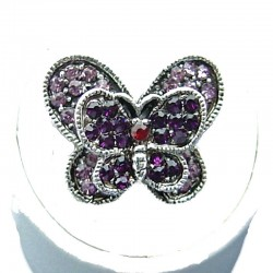 Cute Costume Jewellery, Purple Diamante Pave Twin Wing Fashion Butterfly Ring