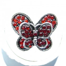 Cute Costume Jewellery, Red Diamante Pave Twin Wing Fashion Butterfly Ring