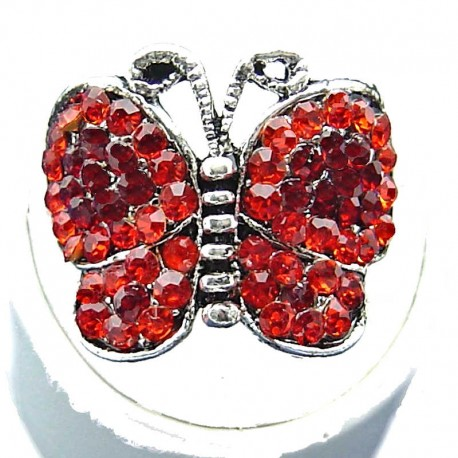 Cute Costume Jewellery, Chic Red Diamante Pave fashion Butterfly Ring