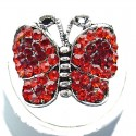 Red Diamante Pave Butterfly Ring