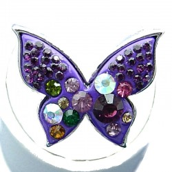 Yound Women Costume Jewellery, Purple Enamel Multi Colour Diamante Fashion Butterfly Ring
