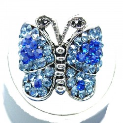Royal Blue Diamante Pave Butterfly Ring