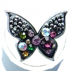 Women Costume Jewellery, Black Enamel Multi Colour Diamante Butterfly Fashion Ring