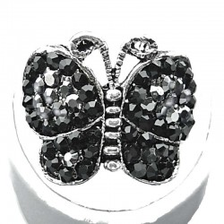 Cute Costume Jewellery, Black Diamante Pave Fashion Butterfly Ring