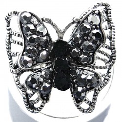Women Costume Jewellery, Black Diamante Marcasite large Butterfly Fashion Statement Ring