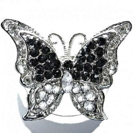 Big Bold Costume Jewellery, Chunky Black & Clear Diamante Large Butterfly Statement Fashion Ring