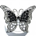 Black & Clear Diamante Large Butterfly Statement Ring