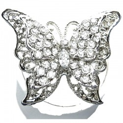 Bib Women Costume Jewellery, Big Bold Fashion Clear Diamante Large Butterfly Statement Ring
