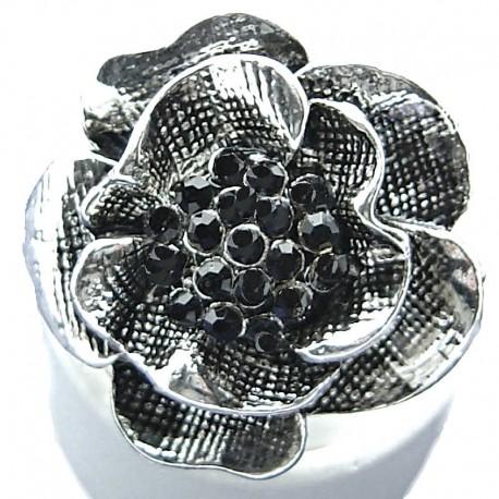 Women Statement Costume Jewellery, Dressy Black Diamante Vintage Peony Large Flower Fashion Ring