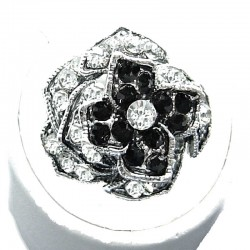 Dress Bib Fashion Jewellery, Black & Clear Diamante Costume Flower Ring