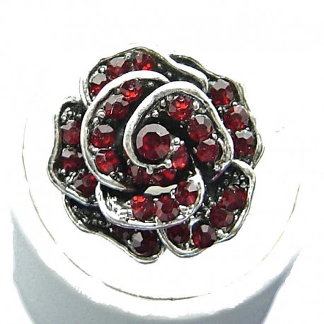 Dressy Bib Love Costume Jewellery, Ruby Red Diamante Rose Fashion Flower Ring
