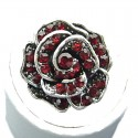 Ruby Red Diamante Rose Flower Ring