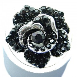 Love Bib Costume Jewellery, Dressy Black Diamante Large Rose Fashion Flower Ring