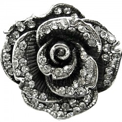 Clear Diamante Vintage Big Rose Flower Statement Ring