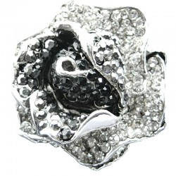Black Marcasite Clear Diamante Bold Rose Flower Statement Ring