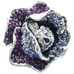 Big Large Chunky Costume Jewellery, Chic Purple Violet Clear Diamante Bold Rose Flower Fashion Statement Ring