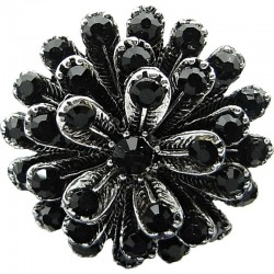 Big Bold Large Costume Jewellery, Black Diamante Chunky Vintage Marigold Fashion Flower Statement Ring