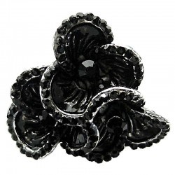 Large Statement Costume Jewellery, Black Diamante Chunky Vintage Three Flower Fashion Ring