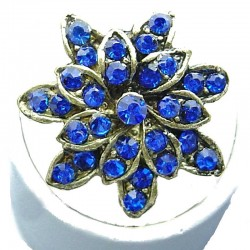 Bib Fashion Costume Jewellery, Royal Blue Diamante Antique Gold Plated Marigold Flower Ring
