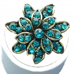 Bib Fashion Jewellery, Aqua Blue Diamante Antique Gold Plated Marigold Costume Flower Ring