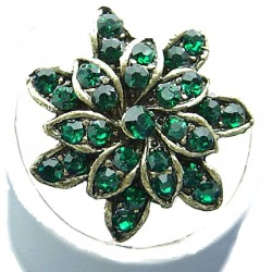 Bib Fashion Costume Jewellery, Green Diamante Antique Gold Plated Marigold Flower Ring