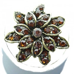 Bib Costume Jewellery, Brown Diamante Antique Gold Plated Marigold Fashion Flower Ring