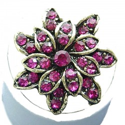 Bib Fashion Costume Jewellery, Hot Pink Diamante Antique Gold Plated Marigold Flower Ring