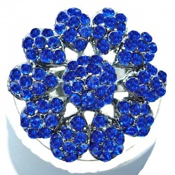 Bib Statement Costume Jewellery, Royal Blue Diamante Large Daisy Pave Bold Fashion Flower Ring