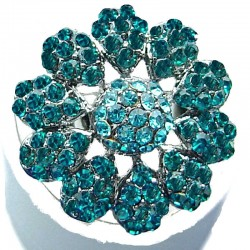 Bib Statement Costume Jewellery, Aqua Blue Diamante Large Daisy Pave Fashion Flower Ring