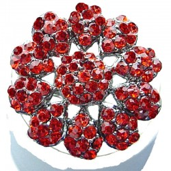 Bib Statement Costume Jewellery, Chic Red Diamante Large Daisy Pave Bold Fashion Flower Ring